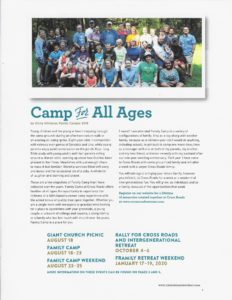 2019 Spring Newsletter camp for all ages article